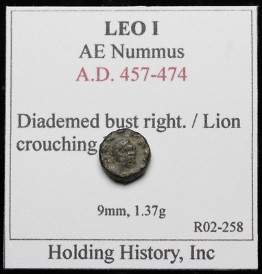 Leo I AE4, Lion within wreath, CON below, Nice for type