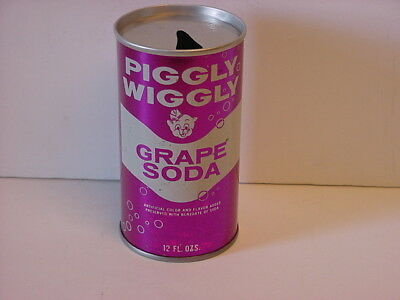 Piggly Wiggly Grape Soda Straight Steel Pull Tab Top Opened Pop Can No Bar Code