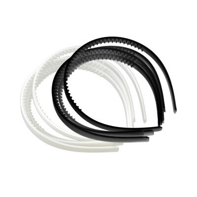 10x 10mm White Black Plain Plastic Hair Band Headband Head Hoop Womens Girls