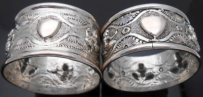 Antique Thai Region Deity Napkin Rings - Silvered Copper