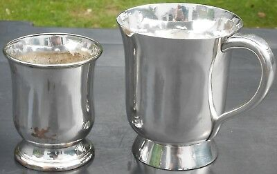 Old Sheffield Plate Tumbler & Pint Beer Mug / Tankard - Silver Plated