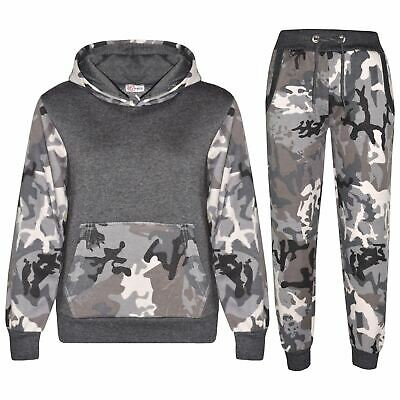 Kids Boys Girls Jogging Suit Designer Camouflage Contrast Top & Bottom Tracksuit