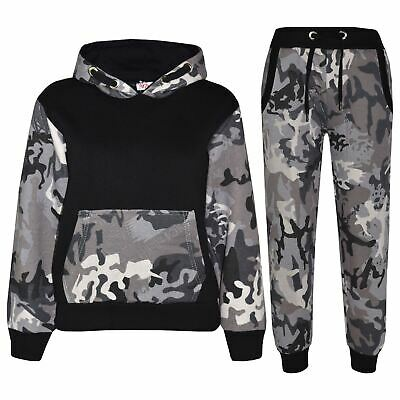 Kids Boys Girls Jogging Suit Designer's Camouflage Contrast Top Bottom Tracksuit