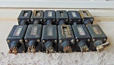 (12) Vintage Chrome Veeder-Root, Rotation Counters Meters 5 Digits
