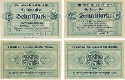 Bad Kissingen  4 Scheine a 10 Mark von 1918 - kassenfrisch -