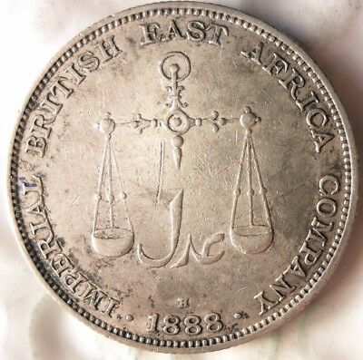 1888 BRITISH EAST AFRICA (MOMBASA) RUPEE - RARE SILVER CROWN Coin - Lot #721