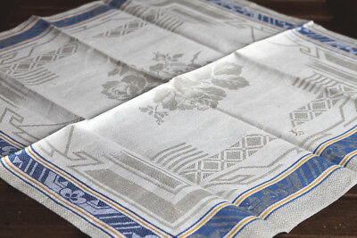 Art Deko  Leinen Geschirrtuch/Set Rosen um 1925 ,Art Deco Design Linen Towel