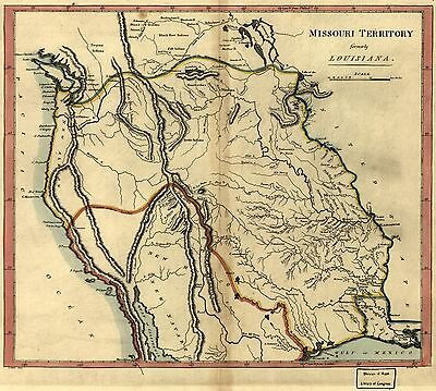 12x18 inch Reprint of American Cities Towns States Map Missouri Territory