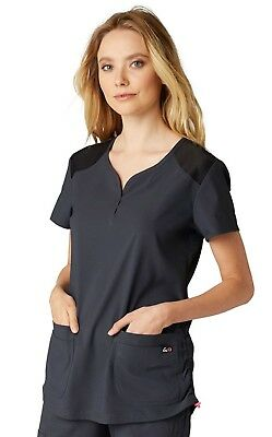 Koi  Scrubs Style 347 Sweetheart V-Neck Scrub Top in Charcoal, Size XXS