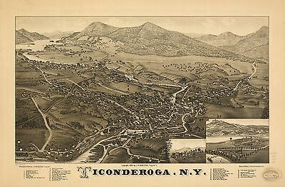 12x18 inch Reprint of American Cities Towns States Map Ticonderoga New York