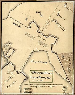 12x18 inch Reprint of American Military Map British Lines Boston Neck 1775