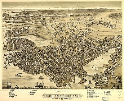 12x18 inch Reprint of American Cities Towns States Map Portsmouth Nh