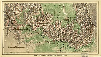 12x18 inch Reprint of American Parks Islands Map Grand Canyon
