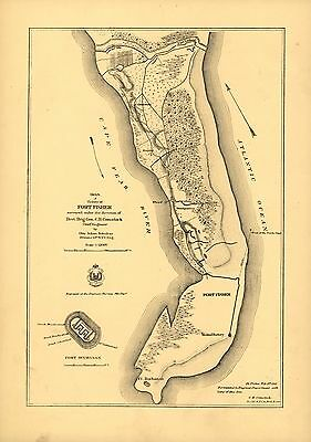 12x18 inch Reprint of Lakes And Rivers Map Fort Fisher North Carolina