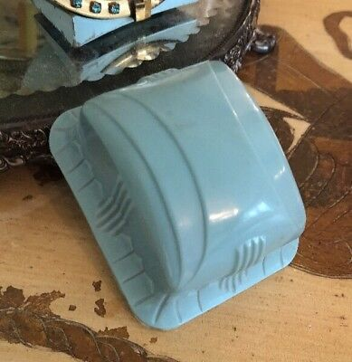 Vintage Deco Robins Egg Blue Celluloid Plastic Velvet Jewelry Ring Box