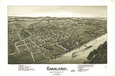 12x18 inch Reprint of American Cities Towns States Map Charleroi Pennsylvania