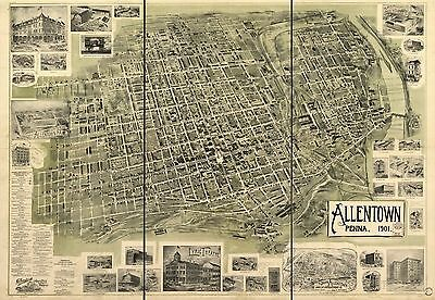 12x18 inch Reprint of American Cities Towns States Map Allentown Penna