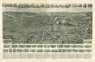 12x18 inch Reprint of American Cities Towns States Map Fitchburg Mass