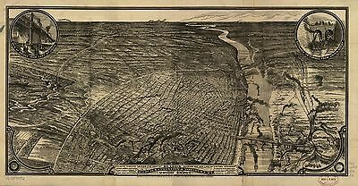 12x18 inch Reprint of American Cities Towns States Map St Louis Missouri
