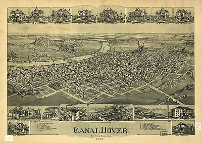 12x18 inch Reprint of American Cities Towns States Map Canal Dover Ohio