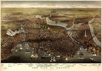 12x18 inch Reprint of American Cities Towns States Map Boston
