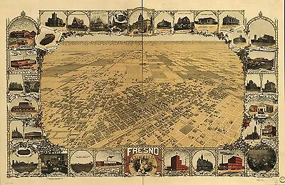 12x18 inch Reprint of American Cities Towns States Map Fresno California