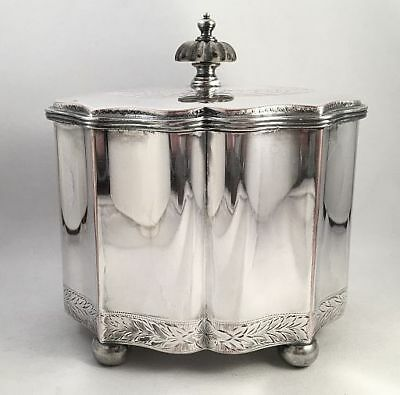 Antique English Sheffield Silver on Copper Biscuit Barrel Fluted Sides, Bun Feet