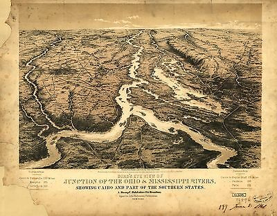 12x18 inch Reprint of American Cities Towns States Map Ohio Mississippi Rivers