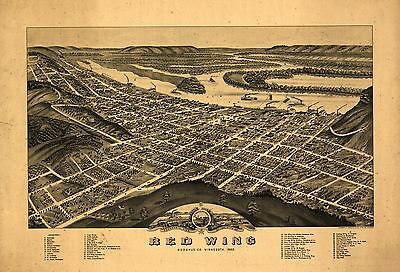 12x18 inch Reprint of American Cities Towns States Map Redwing Goddhue Minnesota