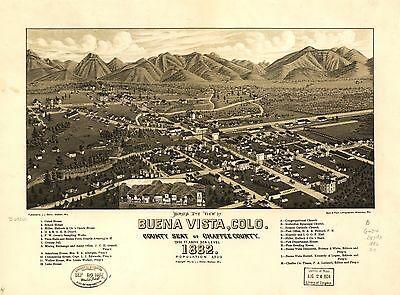 12x18 inch Reprint of  USA Cities Towns States Map Buena Vista Chaffee Colorado