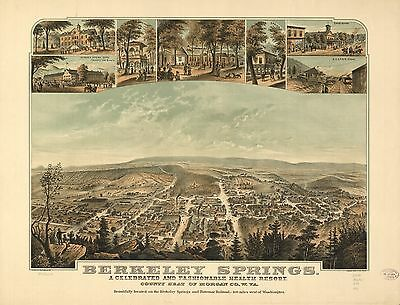 12x18 inch Reprint of  USA Cities Towns States Map Berkley Springs West Virginia
