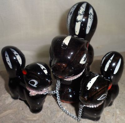 Vintage Clay Chained Skunk Family Figurines Ceramic Miniature Set of 3 Japan