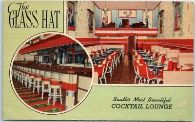 New Orleans LA Postcard THE GLASS HAT Cocktail Lounge Bar Nightclub Linen 1940s