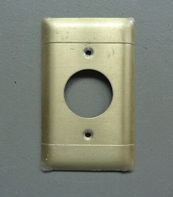 Vintage Used P & S Brass Round Outlet Cover Plate Solid Brass #P2