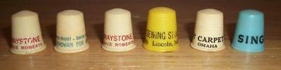 LOT of 6 VINTAGE ADVERTISING THIMBLES - Graystone Dairy, Hunt Carpet, political