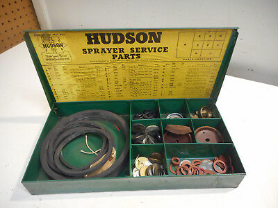 L1584- Vintage Hudson Sprayer Parts Cabinet Advertising Display Hardware Store