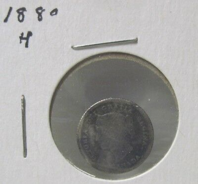 1880 H Canada Five Cent Silver Coin (A)