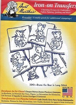 Aunt Martha's Hot Iron Transfer Days of the Week Towels Bruno the Bear New Unuse