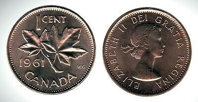 Canada 1961 Small Cent GEM BU UNC Red Penny!!