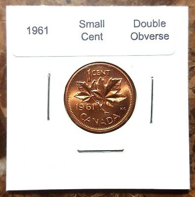 Canada 1961 Small Cent Choice to Gem BU * Double Obverse * Variety!!