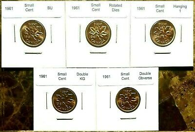 Canada 1961 Small Cent Variety Set Rotated, BU, Double KG, Obv. & Hanging 1!!