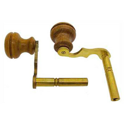 1  x New Brass Longcase Crank Clock Key Wood Handle Modern, Size  - 4.0 mm