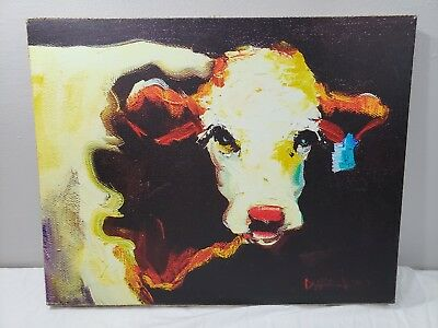 "Big Canvas Blue Tag COW Painting 24""x19"" American West Farmhouse Diane Whitehead"