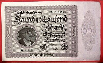 Germany Notgeld Banknote I923 100,00 Mark Au Very Large Size  881