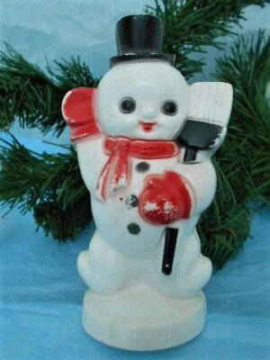 Vintage Christmas Hard Plastic Snowman With Top Hat And Holding A Broom