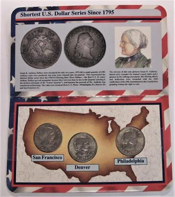 1979  P-D-S U.S. Susan B. Anthony Dollars * First Year Set *3 Uncirculated Coins