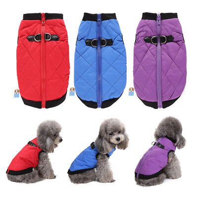 Comfy Soft Dog Jacket Padded Pets Clothes Warm Vest Coat Winter Harness Puppy