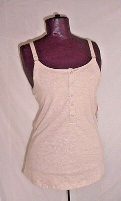 Beige Heather Cotton Maternity Camisole w Self Bra Wire Free Small Gilligan NEW