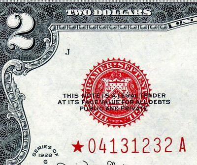 HGR SATURDAY 1928G $2 RED Seal ***Rare STAR*** Very Near UNCIRCULATED