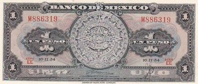 AU 1954 Mexico 1 Peso Note,Series EE, Pick 56a.